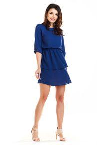 Niebieska sukienka wizytowa Awama mini, z falbankami
