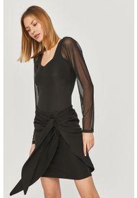 Czarna bluzka Answear Lab wakacyjna, na co dzień, długa, z długim rękawem