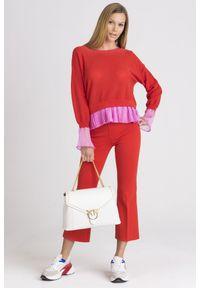 Sweter Pinko krótki, z długim rękawem, na spacer