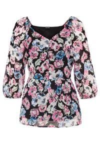 Bluzka z nadrukiem bonprix czarno-dymny jasnoróżowy - w kwiaty. Kolor: czarny. Wzór: kwiaty, nadruk
