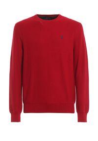 Ralph Lauren - RALPH LAUREN - Czerwona bluza z kultowym logo. Typ kołnierza: polo. Kolor: czerwony. Materiał: bawełna. Długość rękawa: długi rękaw. Długość: długie. Styl: klasyczny