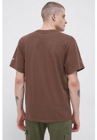 HUF - T-shirt bawełniany x Steven Harrington. Okazja: na co dzień. Kolor: brązowy. Materiał: bawełna. Wzór: nadruk. Styl: casual