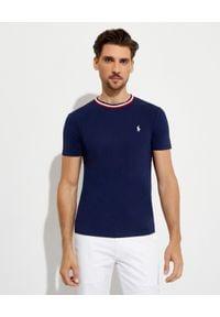 Ralph Lauren - RALPH LAUREN - Granatowy t-shirt z bawełny Slim Fit. Typ kołnierza: polo. Kolor: niebieski. Materiał: bawełna. Wzór: haft, paski