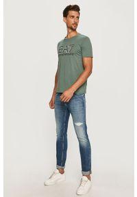 Zielony t-shirt EA7 Emporio Armani casualowy, z nadrukiem, na co dzień