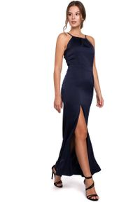 MAKEOVER - Granatowa Maxi Sukienka z Dekoltem Holter Neck. Kolor: niebieski. Materiał: poliester, elastan. Długość: maxi