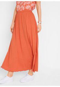 Długa spódnica z dżerseju bonprix pomarańczowy miedziany. Kolor: czerwony. Materiał: jersey. Długość: długie