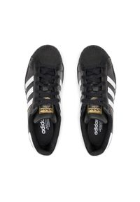 Adidas - Buty adidas - Superstar J EF5398 Clack/Ftwwht/Cblack. Okazja: na urodziny, na co dzień. Zapięcie: pasek. Kolor: czarny. Materiał: skóra. Szerokość cholewki: normalna. Wzór: paski. Styl: młodzieżowy, retro, sportowy, klasyczny, casual, street