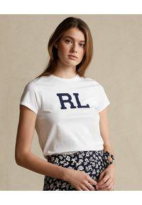Ralph Lauren - RALPH LAUREN - Biały t-shirt z bawełny. Okazja: na co dzień. Typ kołnierza: polo. Kolor: biały. Materiał: bawełna. Wzór: nadruk, napisy. Styl: sportowy, casual, klasyczny