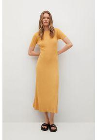 mango - Mango - Sukienka Khan. Kolor: żółty. Materiał: dzianina. Długość rękawa: krótki rękaw. Typ sukienki: dopasowane