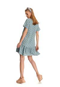 Turkusowa sukienka DRYWASH casualowa, z nadrukiem, z krótkim rękawem, prosta