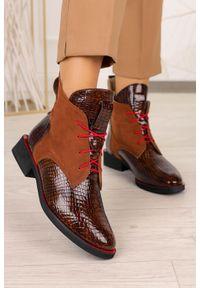 Casu - Brązowe trzewiki lakierowane sznurowane krokodyli wzór polska skóra casu 2513. Kolor: brązowy. Materiał: skóra, lakier