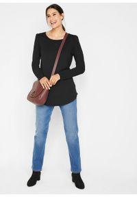 Shirt z długimi rękawami z delikatnym efektem bufki bonprix czarny. Kolor: czarny. Długość rękawa: długi rękaw. Długość: długie. Styl: klasyczny