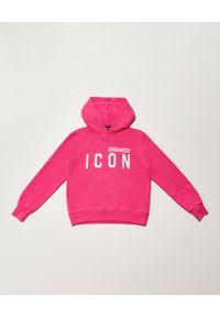 DSQUARED2 KIDS - Różowa bluza z kapturem Icon 4-12 lat. Typ kołnierza: kaptur. Kolor: różowy, wielokolorowy, fioletowy. Materiał: bawełna. Wzór: napisy. Sezon: lato. Styl: klasyczny