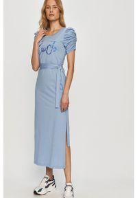 Liu Jo - Sukienka. Okazja: na co dzień. Kolor: niebieski. Długość rękawa: krótki rękaw. Wzór: nadruk. Typ sukienki: proste. Styl: casual