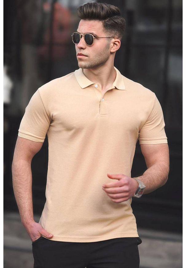 IVET - T-shirt męski CARTER BEIGE. Okazja: na co dzień. Typ kołnierza: polo. Kolor: beżowy. Materiał: materiał. Styl: casual