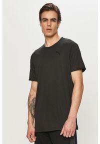 Czarny t-shirt Puma na co dzień, gładki, casualowy