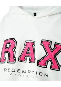 REDEMPTION ATHLETIX - Biała bluza z wyrazistym nadrukiem. Typ kołnierza: kaptur. Kolor: biały. Materiał: bawełna, jeans. Wzór: nadruk. Styl: sportowy
