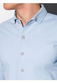 Ombre Clothing - Koszula męska z długim rękawem K540 - niebieska - XXL. Kolor: niebieski. Materiał: bawełna. Długość rękawa: długi rękaw. Długość: długie