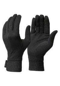 FORCLAZ - Rękawiczki turystyczne wewnętrzne TREK 500. Kolor: czarny. Materiał: jedwab, poliester
