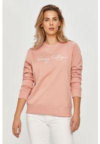 Różowa bluza TOMMY HILFIGER na co dzień, z aplikacjami, bez kaptura, casualowa