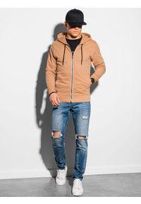 Ombre Clothing - Bluza męska rozpinana z kapturem B1145 - jasnobrązowa - XXL. Typ kołnierza: kaptur. Kolor: brązowy. Materiał: bawełna. Styl: klasyczny