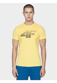 4f - T-shirt męski. Kolor: żółty. Materiał: bawełna, dzianina