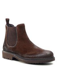 Brązowe buty zimowe QUAZI klasyczne, z cholewką