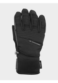 4f - Rękawice narciarskie męskie. Kolor: czarny. Materiał: materiał, syntetyk. Technologia: Thinsulate. Sezon: zima. Sport: narciarstwo