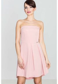 Różowa sukienka Katrus z gorsetem, elegancka