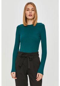 Zielony sweter TALLY WEIJL z długim rękawem, długi, na co dzień, z aplikacjami