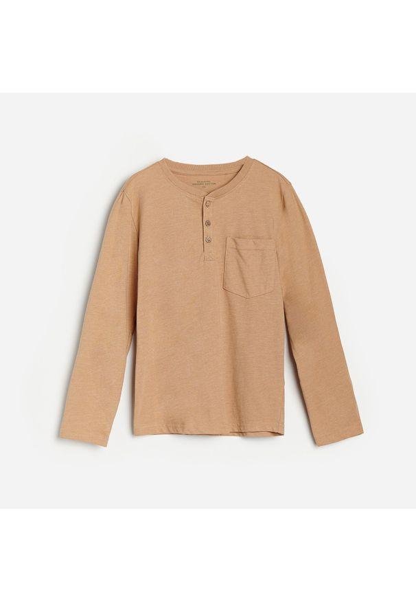 Brązowa koszulka z długim rękawem Reserved melanż