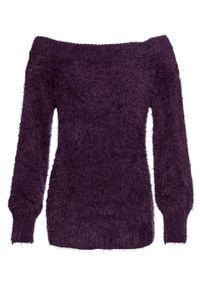 Fioletowy sweter bonprix długi, z kołnierzem typu carmen