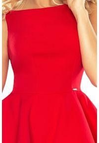 Numoco - Mocno rozkloszowana sukienka z dwiema falbanami. Okazja: na ślub cywilny, na komunię, na wesele. Materiał: wiskoza, poliester, materiał #3