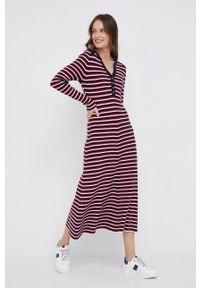 TOMMY HILFIGER - Tommy Hilfiger - Sukienka. Kolor: czerwony. Materiał: lyocell, dzianina, materiał, tkanina, jedwab. Typ sukienki: rozkloszowane
