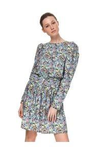 TOP SECRET - Sukienka w kwiaty z krótkim rękawem. Kolor: niebieski. Materiał: materiał. Długość rękawa: krótki rękaw. Wzór: kwiaty. Sezon: lato. Styl: wakacyjny. Długość: mini