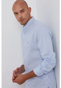 TOMMY HILFIGER - Tommy Hilfiger - Koszula. Typ kołnierza: kołnierzyk stójkowy. Kolor: niebieski. Długość rękawa: długi rękaw. Długość: długie