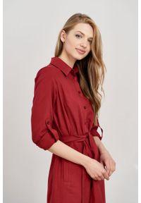Marie Zélie - Sukienka Eliza bordo. Materiał: bawełna, wiskoza. Długość rękawa: długi rękaw. Typ sukienki: szmizjerki. Styl: klasyczny