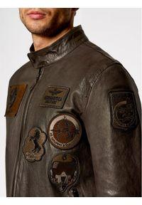 Aeronautica Militare Kurtka skórzana 211PN5011PL154 Szary Regular Fit. Kolor: szary. Materiał: skóra