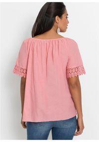 Różowa bluzka bonprix w ażurowe wzory, na lato