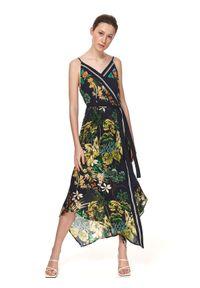 TOP SECRET - Sukienka damska z nadrukiem. Kolor: niebieski. Materiał: tkanina. Długość rękawa: na ramiączkach. Wzór: nadruk. Sezon: lato