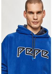 Niebieska bluza nierozpinana Pepe Jeans na co dzień, z nadrukiem, z kapturem, casualowa
