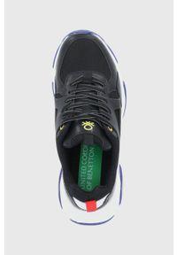 United Colors of Benetton - Buty. Zapięcie: sznurówki. Kolor: czarny. Materiał: guma. Obcas: na platformie