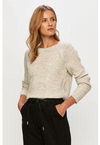 Szary sweter Vila casualowy, długi, z długim rękawem