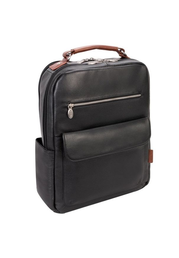 MCKLEIN - Skórzany plecak męski na laptopa McKlein Logan czarny. Kolor: czarny. Materiał: skóra. Wzór: paski