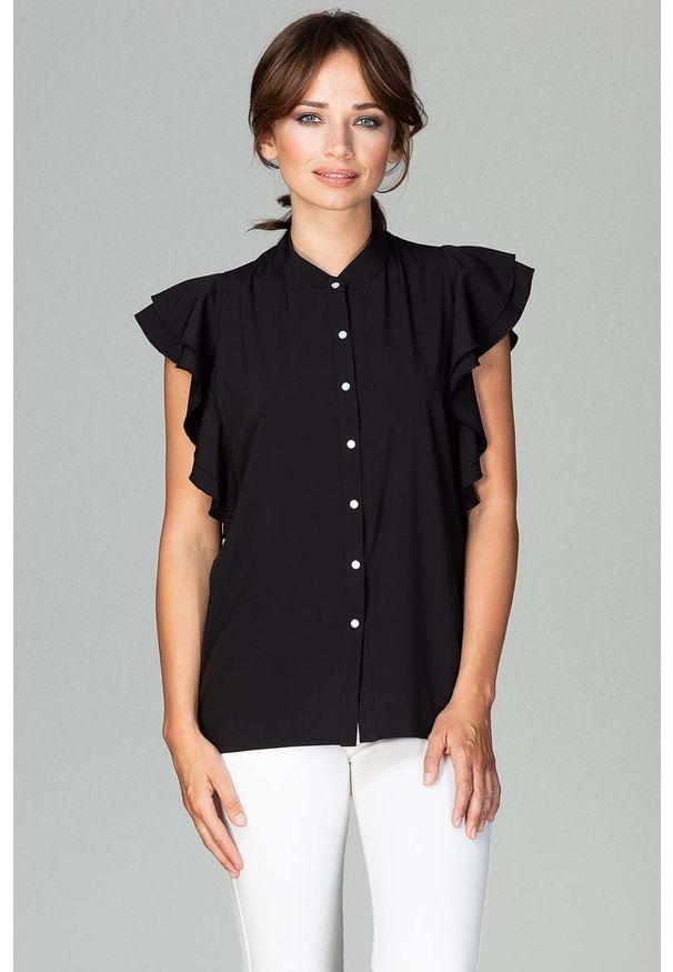 Katrus - Czarna Koszulowa Bluzka z Falbankowym Rękawem. Kolor: czarny. Materiał: elastan, poliester