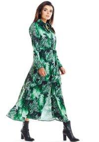 Awama - Zielona Maxi Szmizjerka z florystycznym Motywem. Kolor: zielony. Materiał: elastan, poliester. Wzór: kwiaty. Typ sukienki: szmizjerki. Długość: maxi