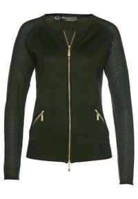 Sweter rozpinany bonprix nocny oliwkowy. Kolor: zielony. Materiał: dzianina. Wzór: ze splotem. Styl: elegancki