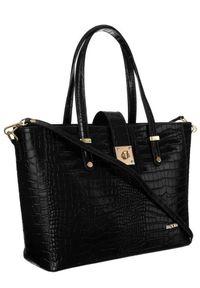 Skórzana torebka damska czarna Badura T_D213CZ_CD. Kolor: czarny. Materiał: skórzane