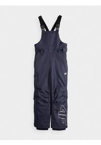 4f - Spodnie narciarskie dziewczęce (122-164). Stan: podwyższony. Kolor: niebieski. Materiał: poliester. Sezon: zima. Sport: narciarstwo