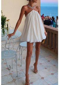 Biała tunika IVET w kolorowe wzory, na co dzień, casualowa